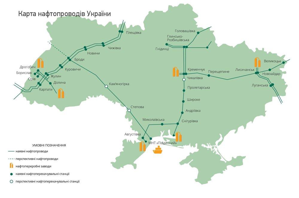 Карта нафтопроводів України